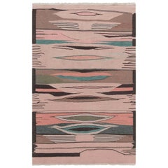 Doris Leslie Blau Collection Swedish Design Brown, Green and Pink Wool Rug