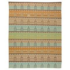 Doris Leslie Blau Collection Swedish Design Brown, Orange, Blue, Green Wool Rug