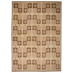 Doris Leslie Blau Collection Swedish Design Handmade Wool Rug in Brown and Ivory