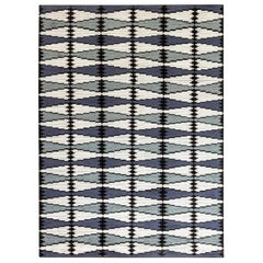 Doris Leslie Blau Collection Swedish Design Rug in Blue, Gray, White and Black