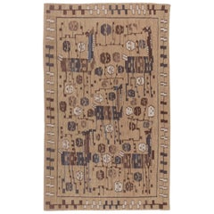 Doris Leslie Blau Collection Swedish Design Rug in Camel, Beige, Brown and Blue