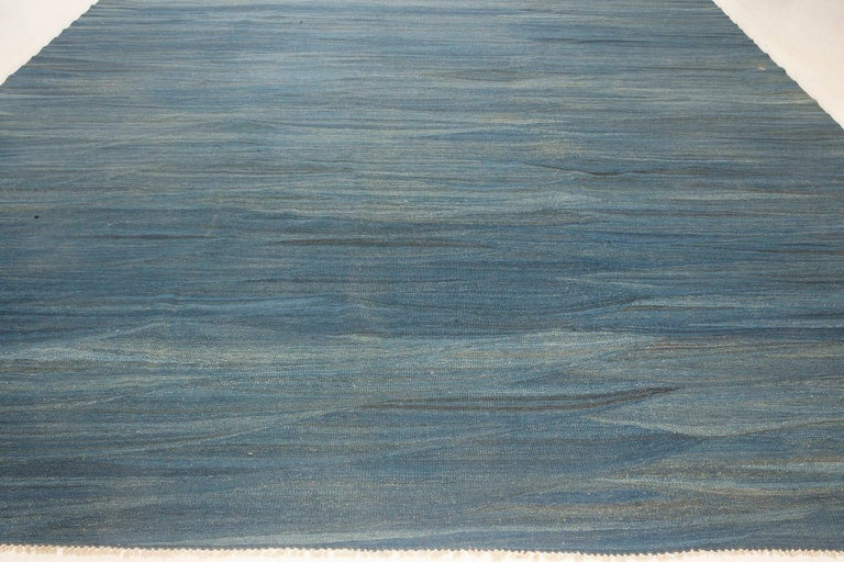 Indian Doris Leslie Blau Collection Swedish Design Wool Rug in Blue, Green and Gray For Sale