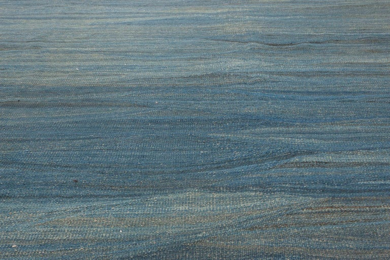 Hand-Knotted Doris Leslie Blau Collection Swedish Design Wool Rug in Blue, Green and Gray For Sale