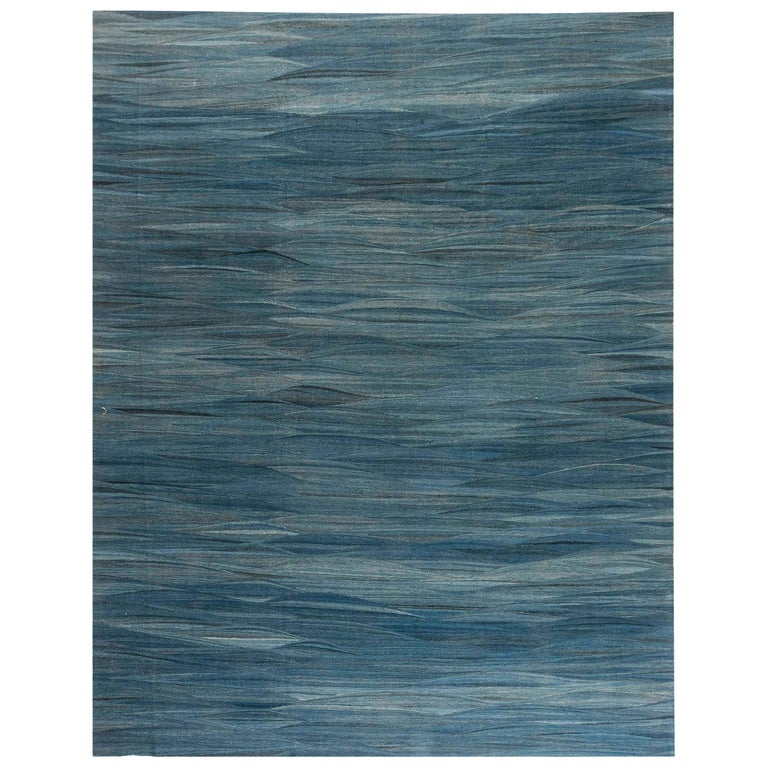 Doris Leslie Blau Collection Swedish Design Wool Rug in Blue, Green and Gray For Sale