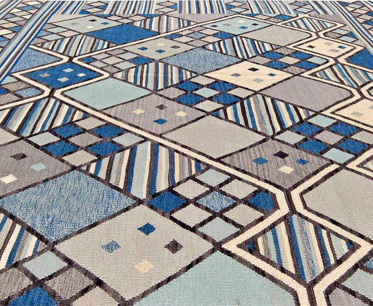 Doris Leslie Blau collection Swedish inspired geometric blue, white and gray handmade wool rug