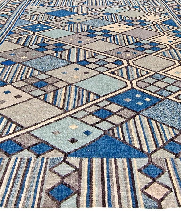 Scandinavian Modern Doris Leslie Blau Collection Swedish Inspired Geometric Blue, White and Gray Rug For Sale