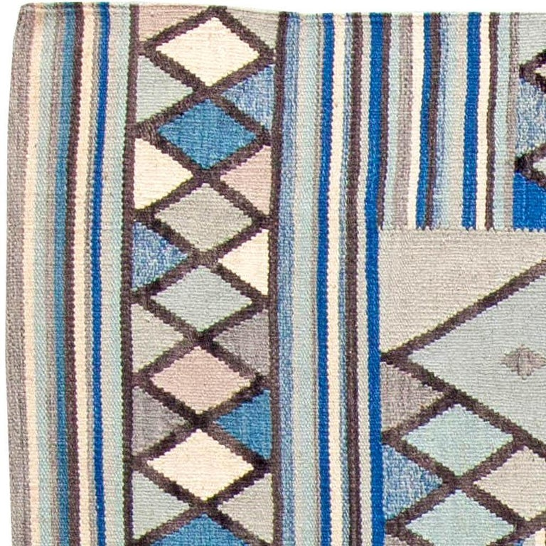 Indian Doris Leslie Blau Collection Swedish Inspired Geometric Blue, White and Gray Rug For Sale