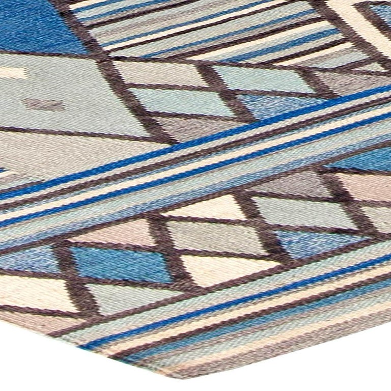 Hand-Knotted Doris Leslie Blau Collection Swedish Inspired Geometric Blue, White and Gray Rug For Sale