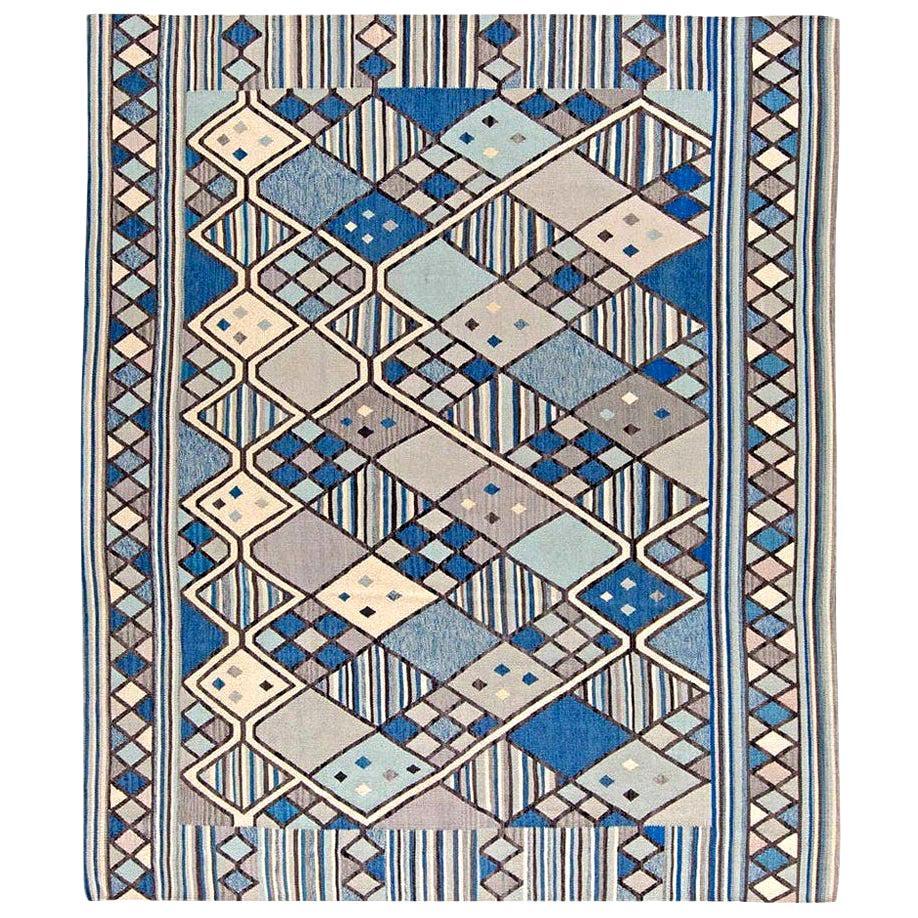 Doris Leslie Blau Collection Swedish Inspired Geometric Blue, White and Gray Rug