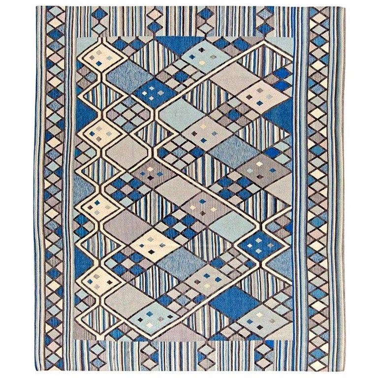 Doris Leslie Blau Collection Swedish Inspired Geometric Blue, White and Gray Rug For Sale