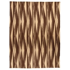 Doris Leslie Blau Collection Swedish Inspired Geometric Brown and Beige Wool Rug