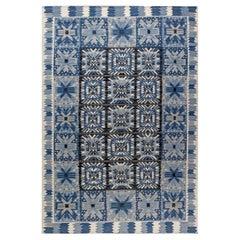 Doris Leslie Blau Collection Swedish Style Blue, White, Black Flat-Weave Rug