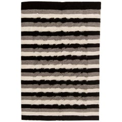 Doris Leslie Blau Collection Taurus Rug in Black, Grey and White Stripes