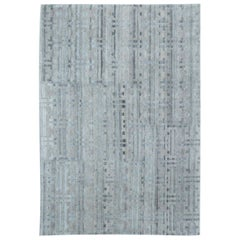 Doris Leslie Blau Collection Terra Hand Knotted in Natural Wool Rug in Blue