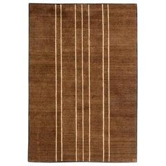 Doris Leslie Blau Collection Tibetan Brown Art Deco Style Rug by Parkin Saunders