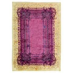 Doris Leslie Blau Collection Tibetan Cream, Gold and Purple Handmade Silk Rug