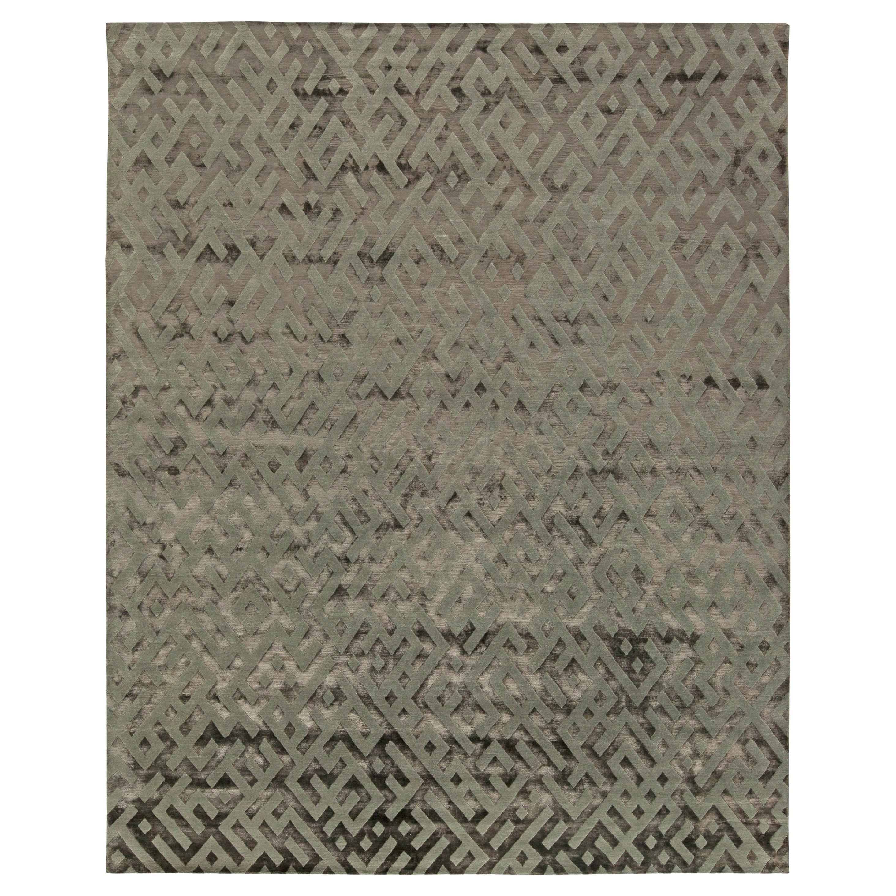 Doris Leslie Blau Collection Tibetan Geometric Gray Handmade Silk Rug