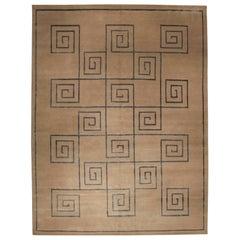 Doris Leslie Blau Collection Tibetan 'Greek Key' Blue and Beige Handmade Rug