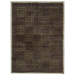 Doris Leslie Blau Collection Tibetan Greek Key Dark Brown and Green Rug