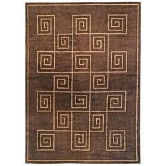 Doris Leslie Blau Collection Tibetan Greek Key in Brown & Beige Wool & Silk Rug