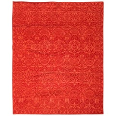 Doris Leslie Blau Collection Tibetan Red Floral Design Handmade Wool Rug