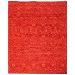 Doris Leslie Blau Collection Tibetan Red Floral Design Handmade Wool Rug