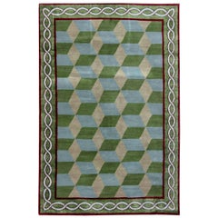 Doris Leslie Blau Collection Tibetan Rug by Sheila Bridges in Green, Blue, Beige
