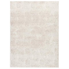 Doris Leslie Blau Collection Traditional Inspired Floral Rug in Beige and White