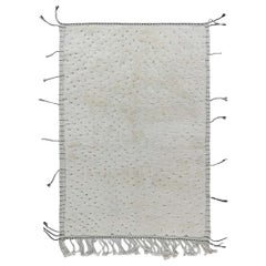 Doris Leslie Blau Collection Tribal Moroccan Rug in White Wool with Tassels