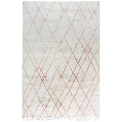 Doris Leslie Blau Collection Tribal Style Modern Moroccan Rug in Pink and White