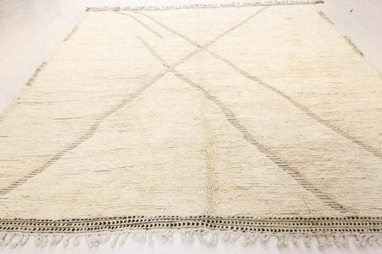 Doris Leslie Blau Collection Tribal Style Modern Moroccan Rug in White and Grey For Sale 1