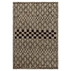Doris Leslie Blau Collection Tribal Style Moroccan Rug in Beige and Brown