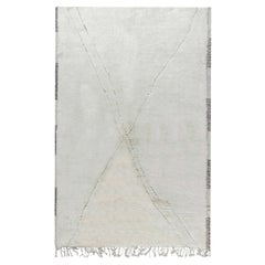 Doris Leslie Blau Collection Tribal Style Moroccan Rug in White Wool