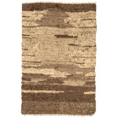 Doris Leslie Blau Collection Tribal Tulu Nadu Style Shaggy Wool Rug in Brown