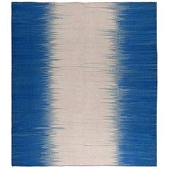 Doris Leslie Blau Collection Turkish Modern Kilim Beige and Blue Wool Rug