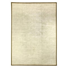 Doris Leslie Blau Collection White and Gold Handmade Wool and Silk Rug