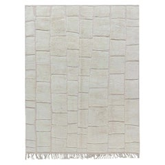 Doris Leslie Blau Tribal Style Modern Moroccan Wool Rug with Brick Wall Design