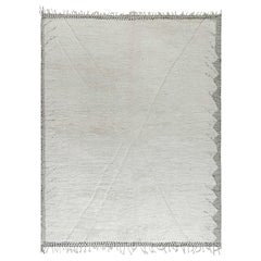 Doris Leslie Blau Tribal Style Moroccan Rug in White and Charcoal Grey Wool