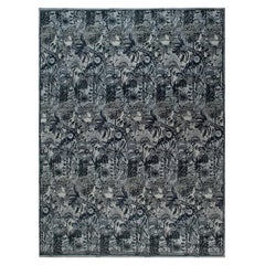 Doris Leslie Collection Traditional Inspired Handmade Wool Rug in Blue and Gray