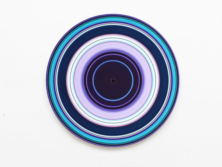 Doris Marten Abstract Painting - Blue Edition No.30 (Sound & Vision series) - Abstract painting on vinyl