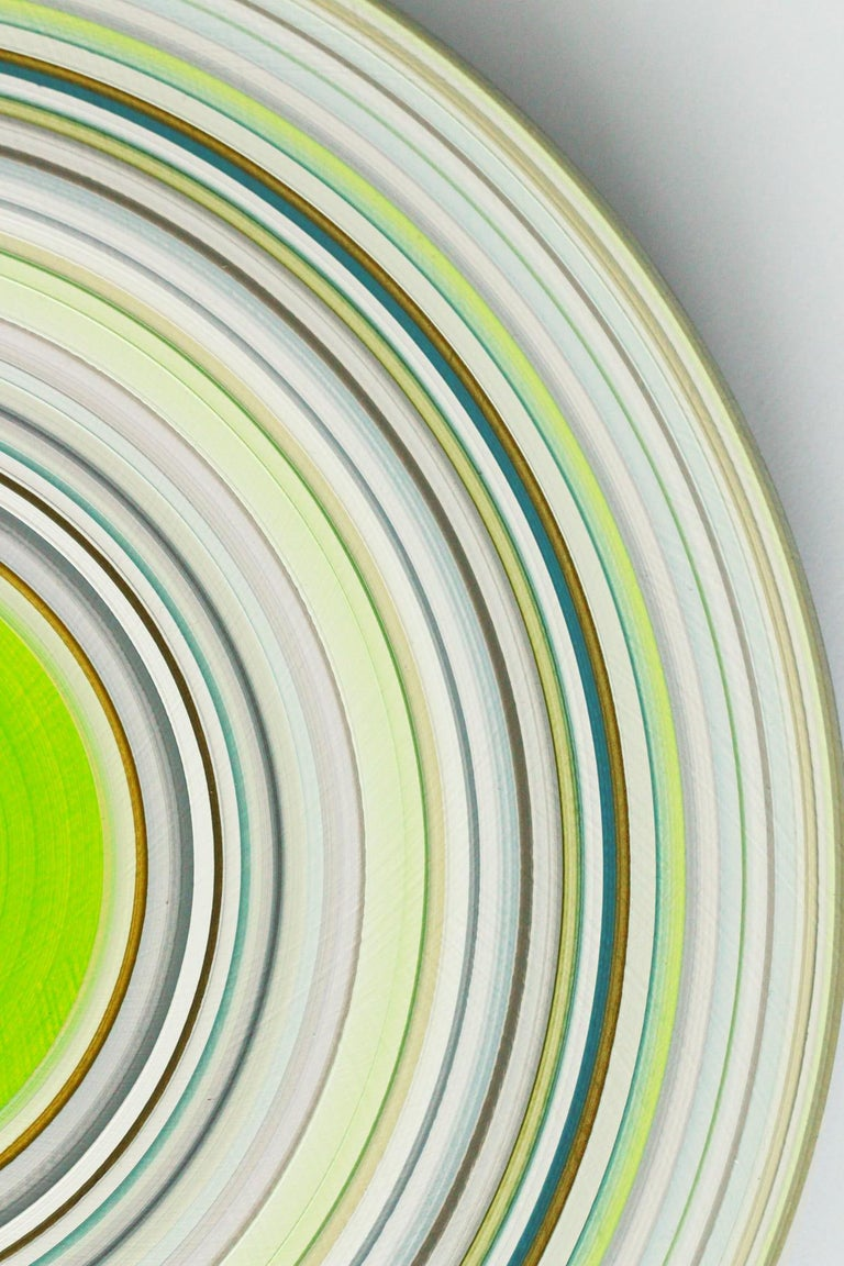 Green Edition No.15 (Sound & Vision series) - Abstract painting on vinyl - Painting by Doris Marten