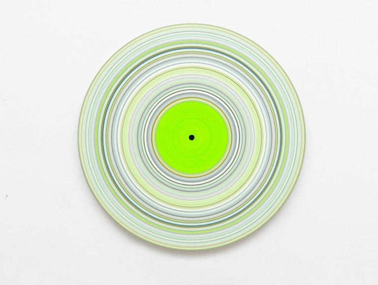Doris Marten Abstract Painting - Green Edition No.15 (Sound & Vision series) - Abstract painting on vinyl