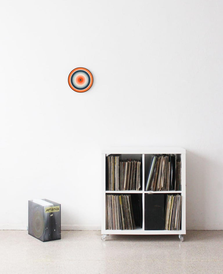 Orange Edition No.03m (Sound & Vision series) - Abstract painting on vinyl - White Abstract Painting by Doris Marten