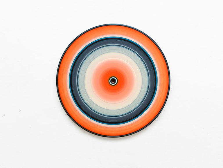 Doris Marten Abstract Painting - Orange Edition No.03m (Sound & Vision series) - Abstract painting on vinyl