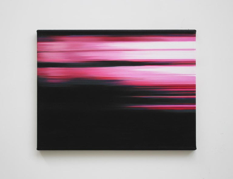 Oil on cotton canvas, 30 x 40 cm. Inspired by a digital phenomenon, the Pink Paintings series revolves around a notion of abstraction. The parallel lines, so characteristic of the artist's work, imitate the result of a digital camera malfunctioning,