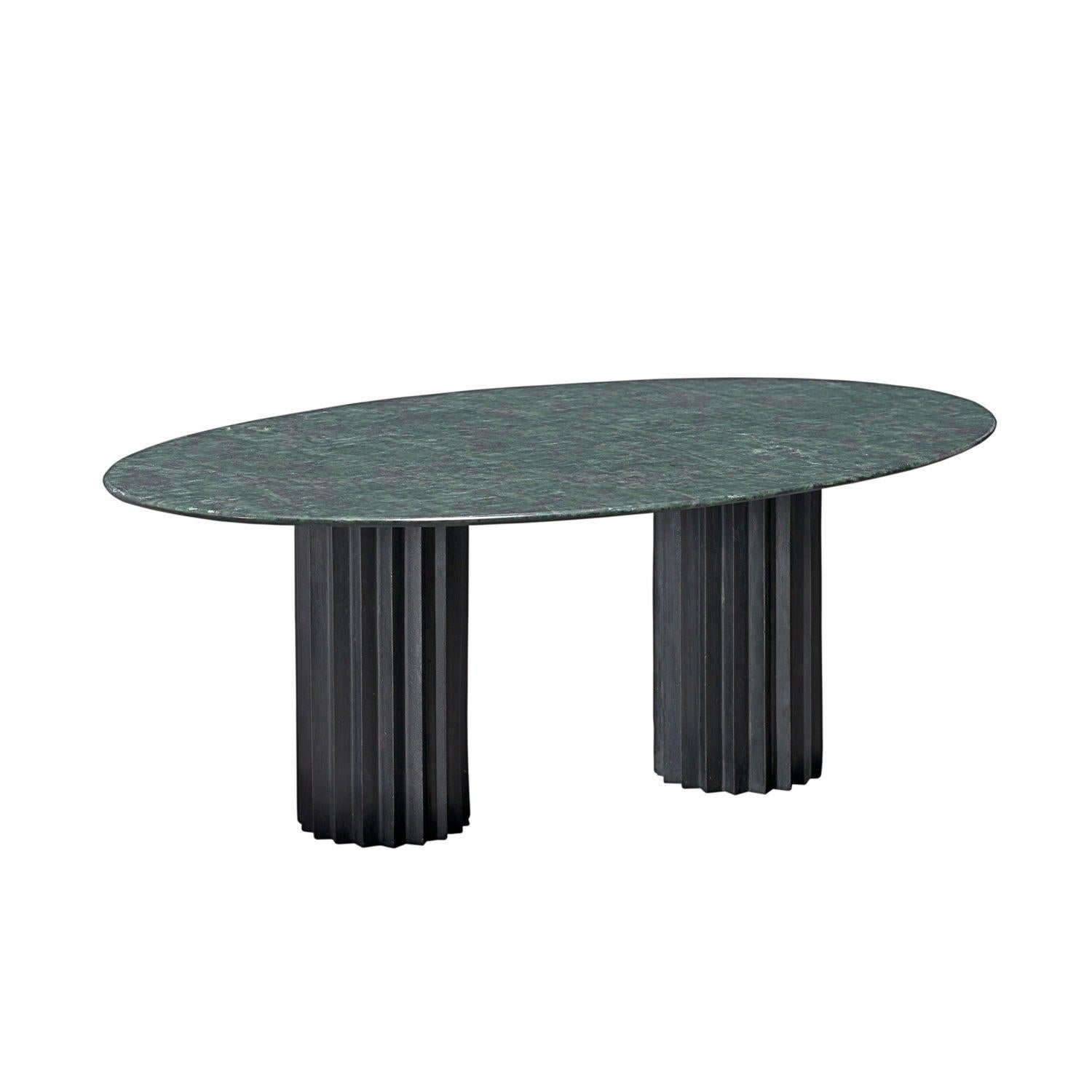 Doris Oval Double Pedestal Dining Table in Green Marble and Blackened Bronze