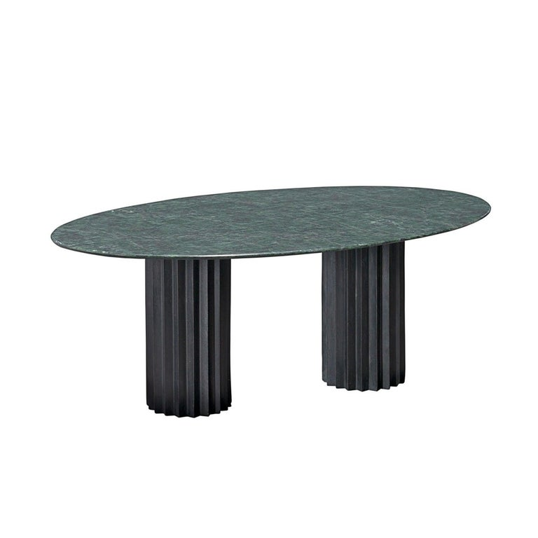 Cool Doris Oval Double Pedestal Dining Table In Green Marble And Blackened Bronze Ocoug Best Dining Table And Chair Ideas Images Ocougorg