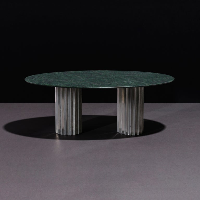 Modern Doris Oval Double Pedestal Dining Table in Green Marble and Cast Aluminum For Sale