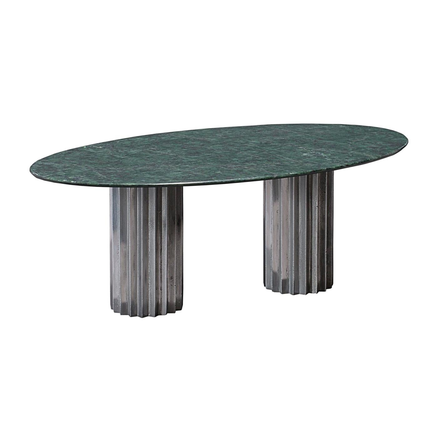 Doris Oval Double Pedestal Dining Table in Green Marble and Cast Aluminum