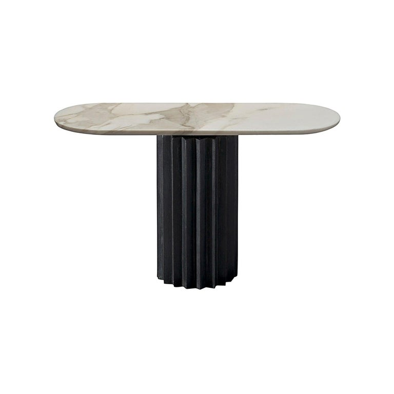 Doris Oval Pedestal Console Table in Gold Calacatta and Cast Blackened Bronze For Sale